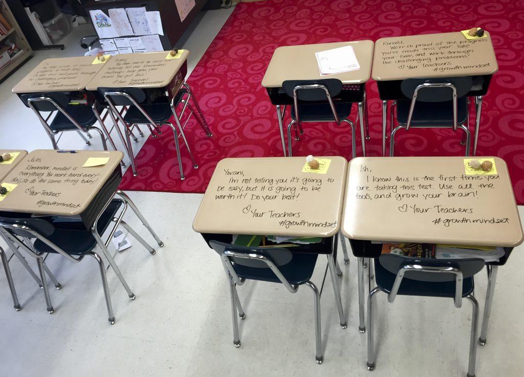 Student desks in Chandni Langford's fifth-grade classroom, in Woodbury, N.J. last week Monday. (Crystal Ramirez via AP)