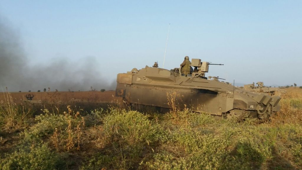The new Namer tanks in the Golan Heights this week. (Defense Ministry)