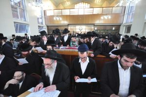 At the atzeres tefillah in Machzikei Hadass in Manchester. (Lawrence Purcell)