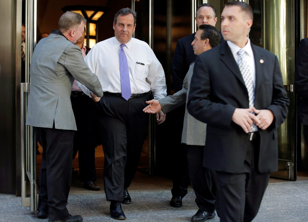 New Jersey Governor Chris Christie exits following a meeting of Donald Trump's national finance team at the Four Seasons Hotel in New York City, Wednesday. (Brendan McDermid/Reuters)
