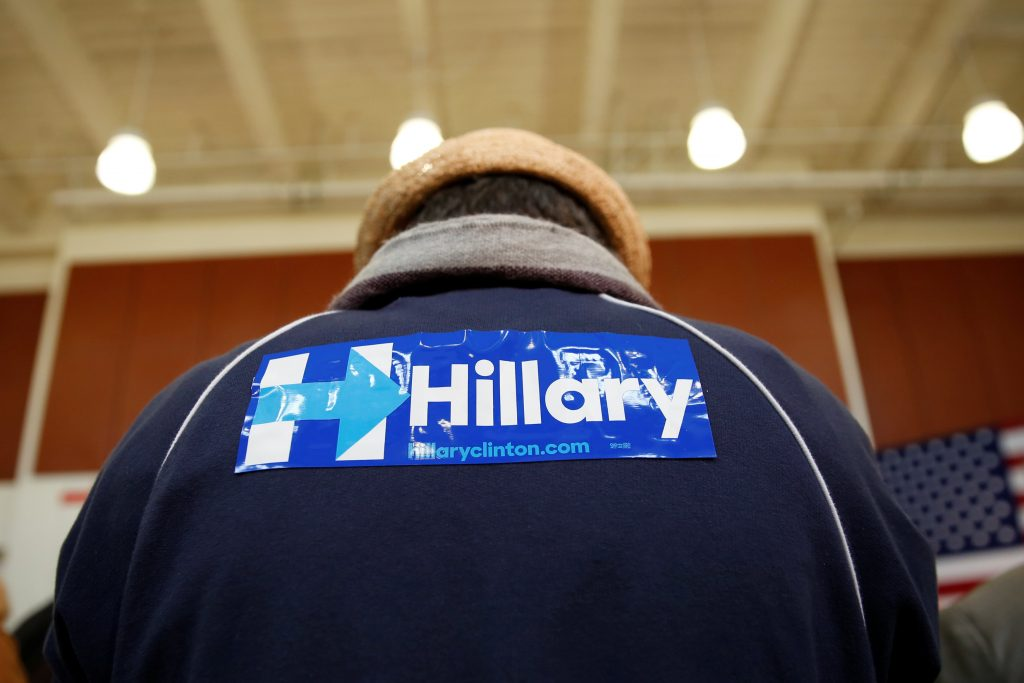 A attendee wears a sticker on his jacket in support of U.S. Democratic presidential candidate Hillary Clinton during a rally in California.(Stephen Lam/Reuters)