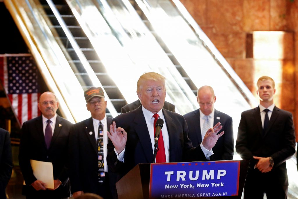 Republican presidential candidate Trump addresses the media at Trump Tower in Manhattan. (Lucas Jackson/Reuters)