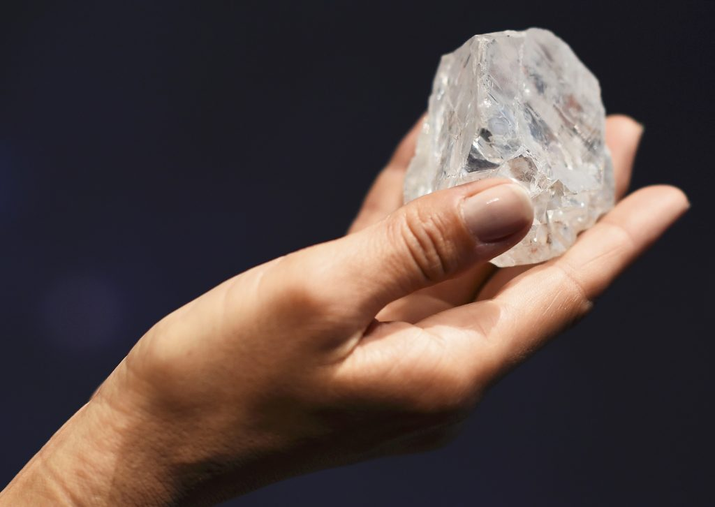 """The 1109 carat """"Lesedi La Rona"""", the largest gem quality rough diamond discovered in over 100 years. (Dylan Martinez/Reuters)"""