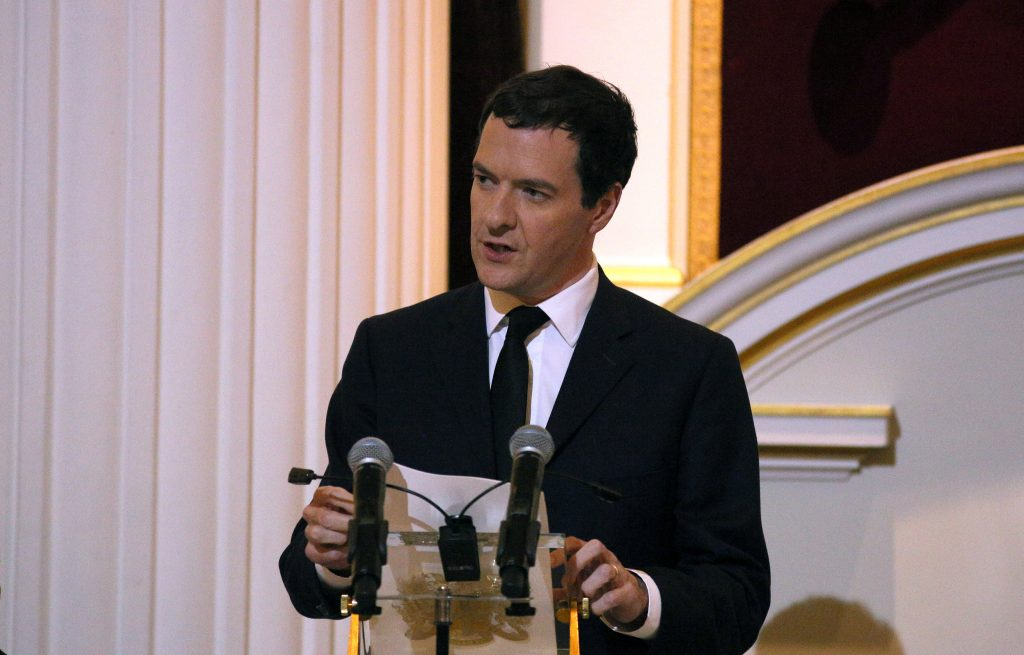 Britain's Chancellor of the Exchequer George Osborne delivers a speech about murdered MP Jo Cox before the Dinner to the Bankers and Merchants at The Mansion House in London, Britain, June 16, 2016. REUTERS/Neil Hall