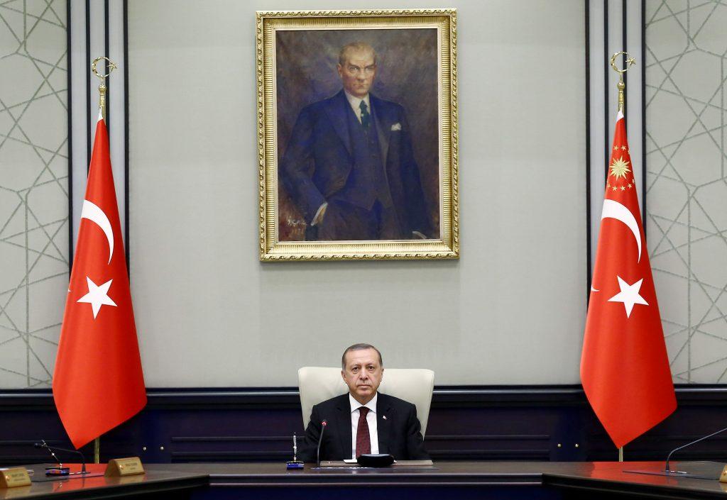 Turkish President Tayyip Erdogan chairs a cabinet meeting in Ankara, Turkey, last week. (Kayhan Ozer/Presidential Palace/Handout via Reuters)