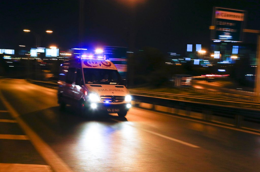 An ambulance arrives at the Ataturk airport, following a blast, in Istanbul, Turkey )Osman Orsal/Reuters)