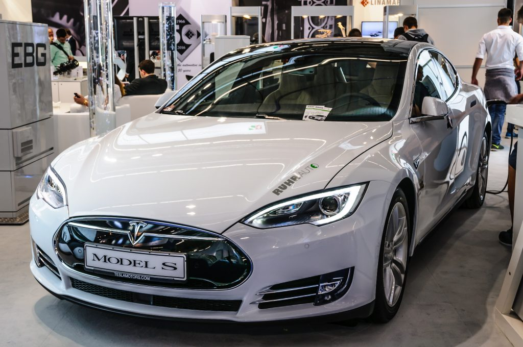 Tesla Model S presented at IAA International Motor Show in Frankfurt, Germany.