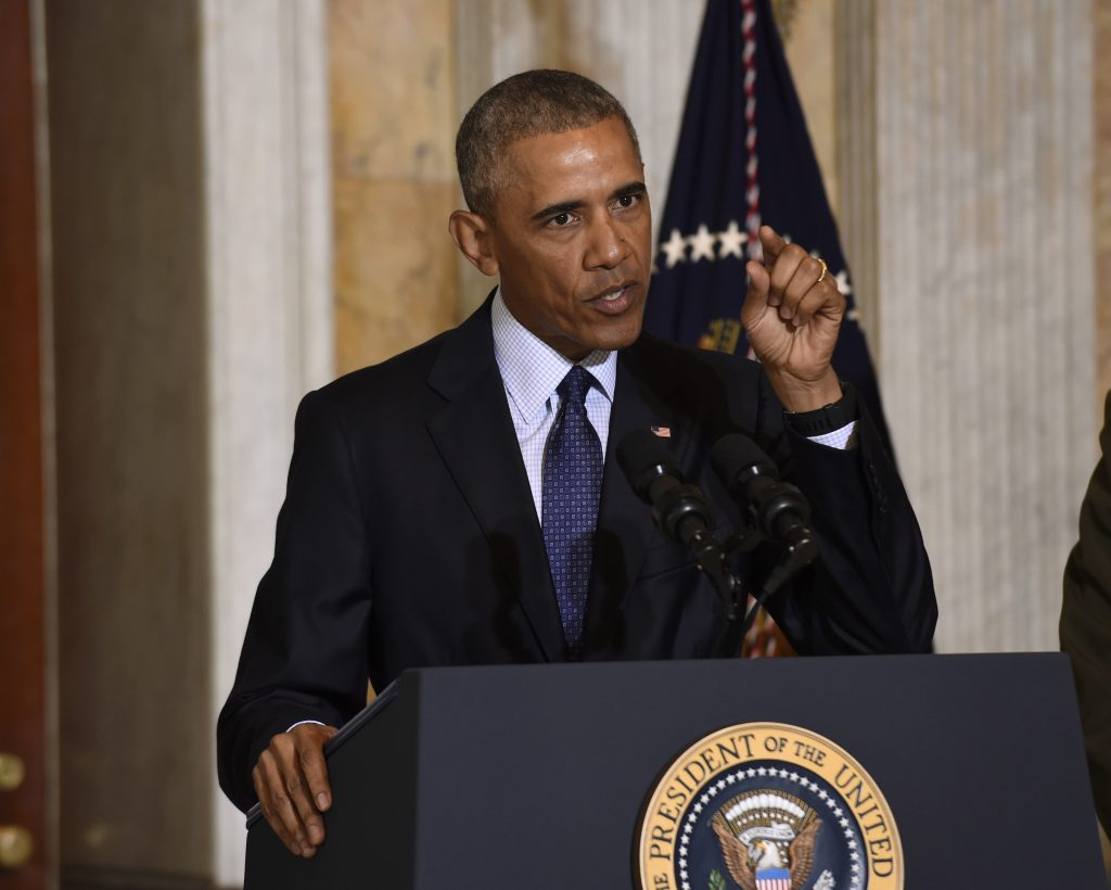 President Barack Obama speaks at the Treasury Department in Washington on Tuesday,  following a meeting with his National Security Council to get updates on the investigation into the attack in Orlando and review efforts to degrade and destroy Islamic State. (AP Photo/Susan Walsh)