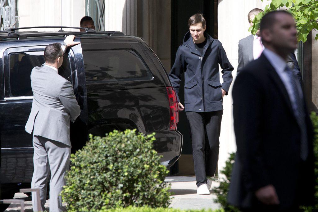 Jared Kushner leaves the residence of former Secretary of State Henry Kissinger in New York on May 18. (AP Photo/Mary Altaffer)