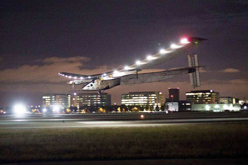 In this April 23 photo, Solar Impulse 2 lands at Moffett Field in Mountain View, Calif., completing the leg of its journey from Hawaii in its attempt to circumnavigate the globe. (AP Photo/Noah Berger, File)