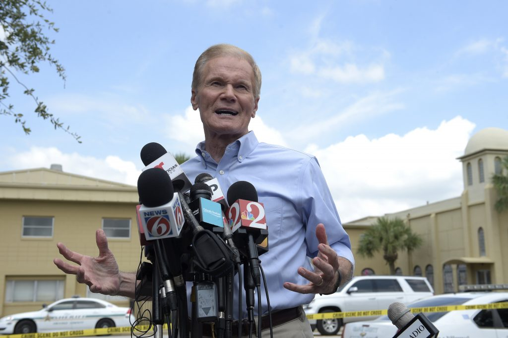 Sen. Bill Nelson, D-Fla., speaking at a news conference after the mass shooting in in Orlando on Sunday. (AP Photo/Phelan M. Ebenhack)