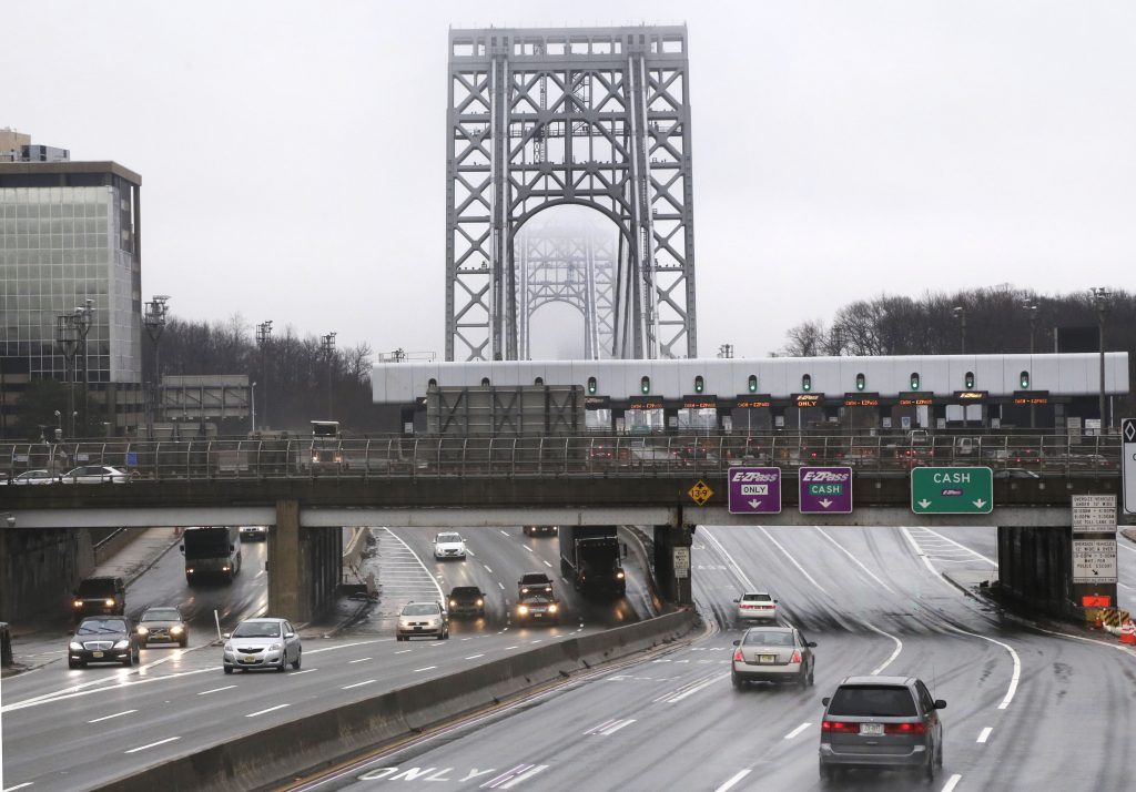 Traffic approaches the toll booths at the George Washington Bridge, in Fort Lee, N.J. (AP Photo/Richard Drew)