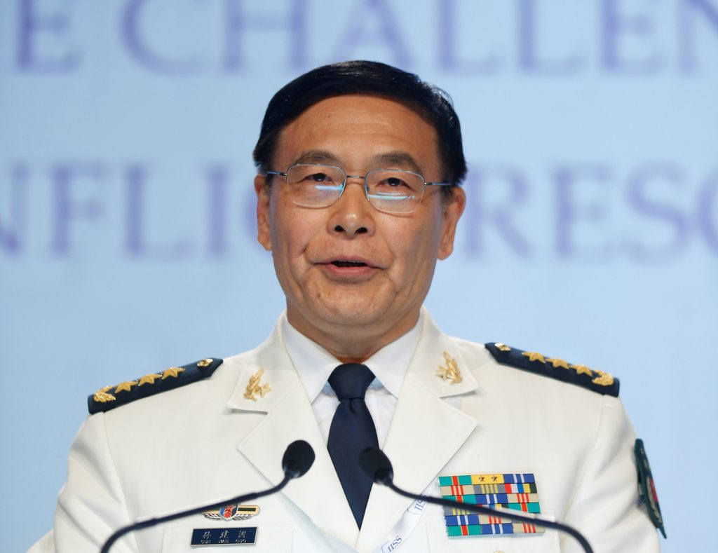 China's Joint Staff Department Deputy Chief Admiral Sun Jianguo speaks at the IISS Shangri-La Dialogue in Singapore June 5, 2016. REUTERS/Edgar Su