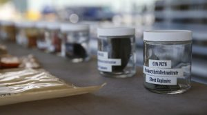 Explosive compounds on display for TSA candidates during an explosives lecture at the Federal Law Enforcement Training Center in Brunswick, Ga., earlier this month. (AP Photo/John Bazemore)