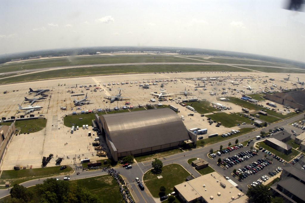 n aerial view of Andrews Air Force Base flight line during the first day of the 2004 Joint Service Open House. (U.S. Navy)