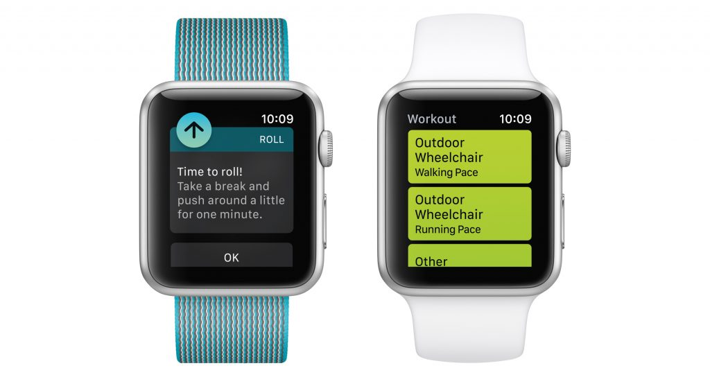 A demonstration of fitness tracking available to wheelchair users with an upcoming Apple Watch update. (Apple via AP)