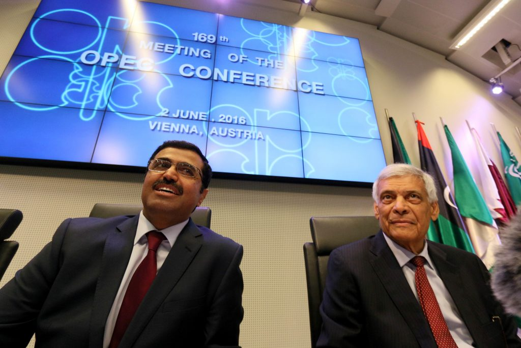 Mohammed Bin Saleh Al-Sada, Minister of Energy and Industry of Qatar and President of the OPEC Conference, and OPEC's Secretary General Abdalla Salem El-Badri, from Libya, from left, speaks to journalists prior to the start of a meeting of the Organization of the Petroleum Exporting Countries, OPEC, at their headquarters in Vienna, Austria, Thursday, June 2, 2016. (AP Photo/Ronald Zak)