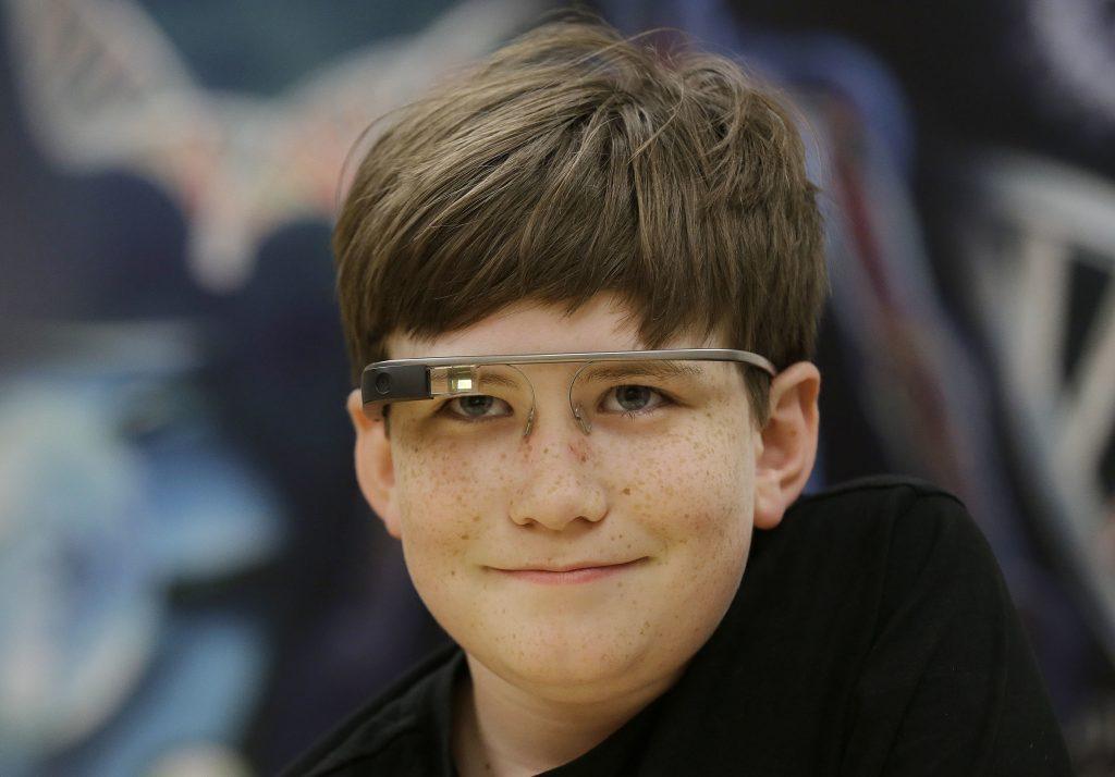 Julian Brown  wearing Google Glass. (AP Photo/Jeff Chiu)