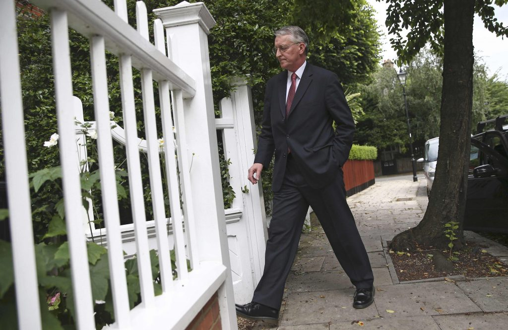 Britain's former Labour Party shadow Foreign Secretary, Hilary Benn, arrives at his home in London, Britain June 26, 2016. REUTERS/Neil Hall