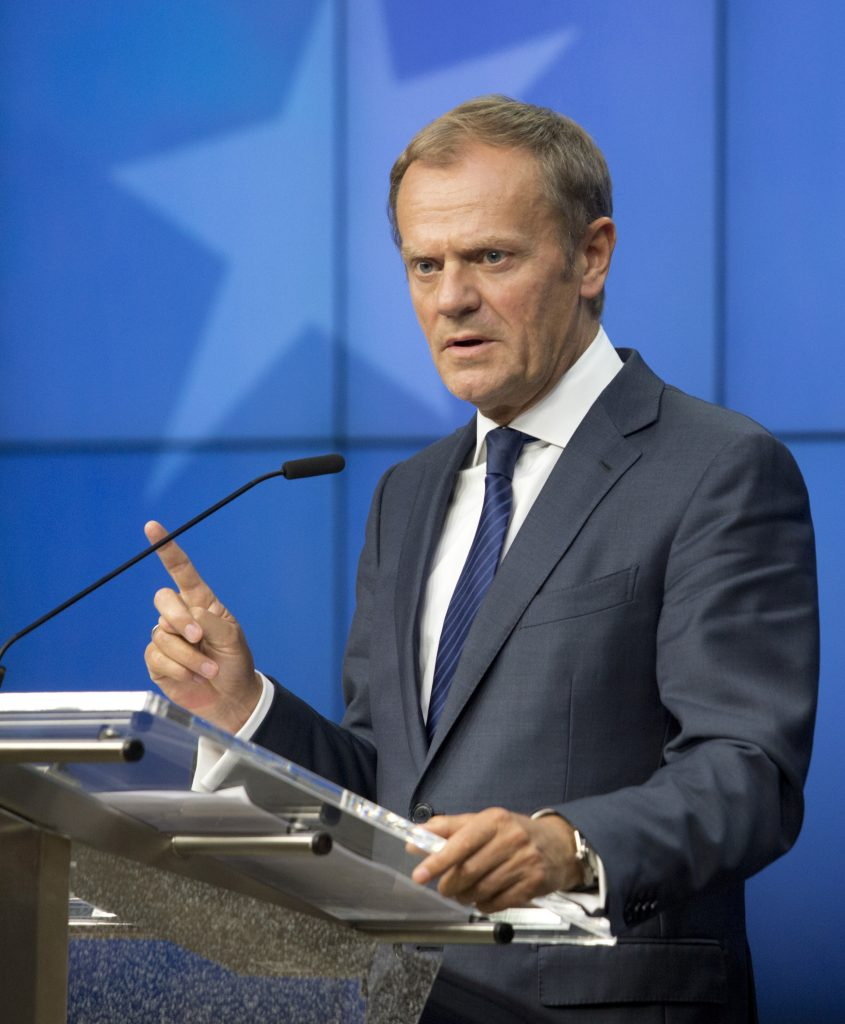 European Council President Donald Tusk speaks during a press conference at an EU summit in Brussels on Wednesday. (Geoffroy Van der Hasselt)