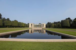 The memorial building in the Colleville American military cemetery, in Colleville sur Mer, western France, on Sunday, the eve of the 72nd anniversary of the D-Day landing. (AP Photo/Francois Mori)