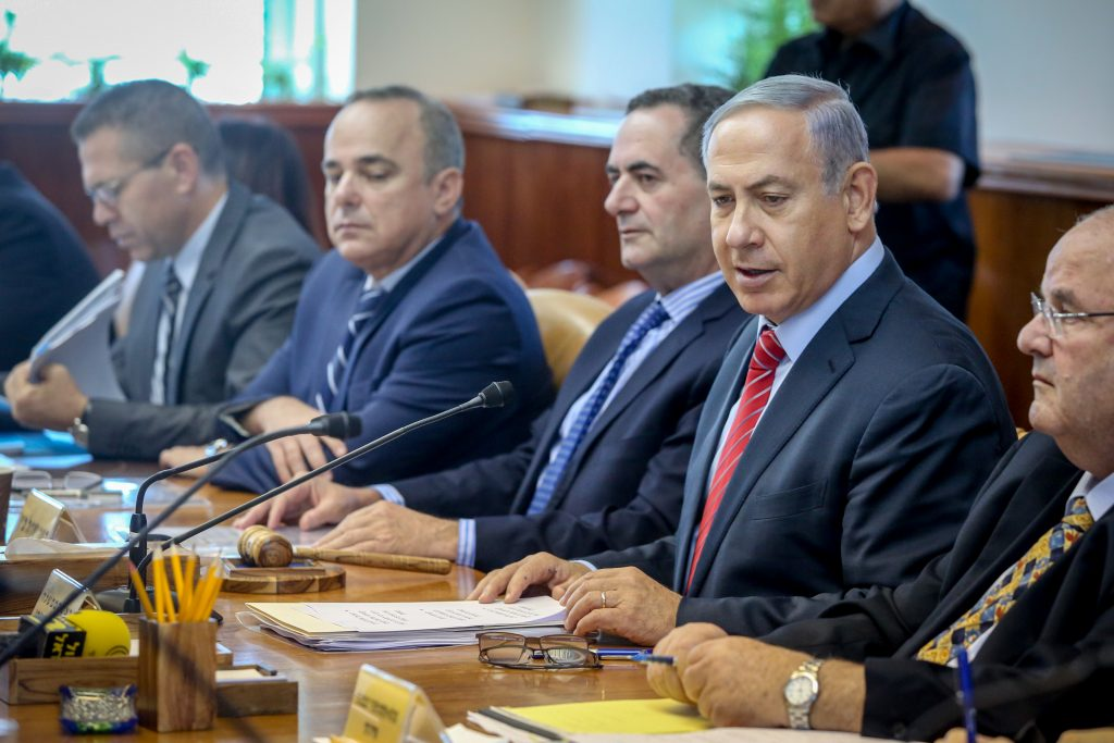 Israeli Prime Minister Binyamin Netanyahu presiding over the cabinet meeting this week. (Marc Israel Sellem/POOL)