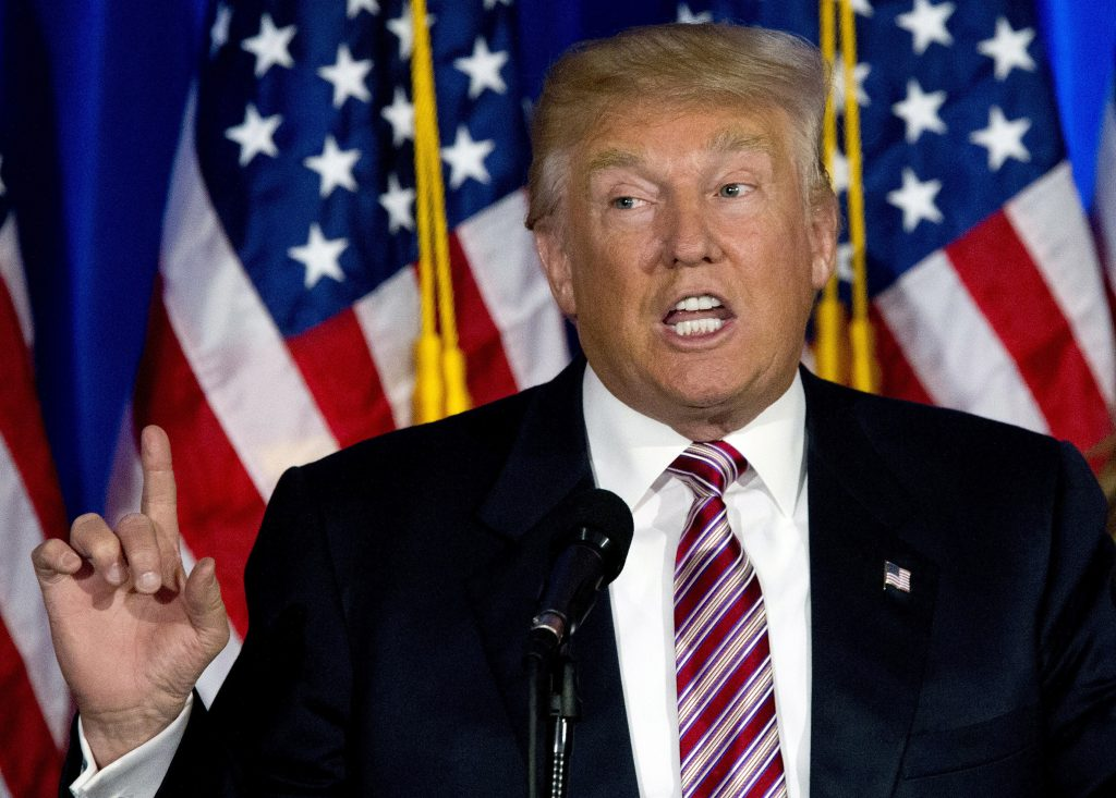 Republican presidential candidate Donald Trump speaking in Briarcliff Manor, N.Y., on Tuesday. (AP Photo/Mary Altaffer, File)
