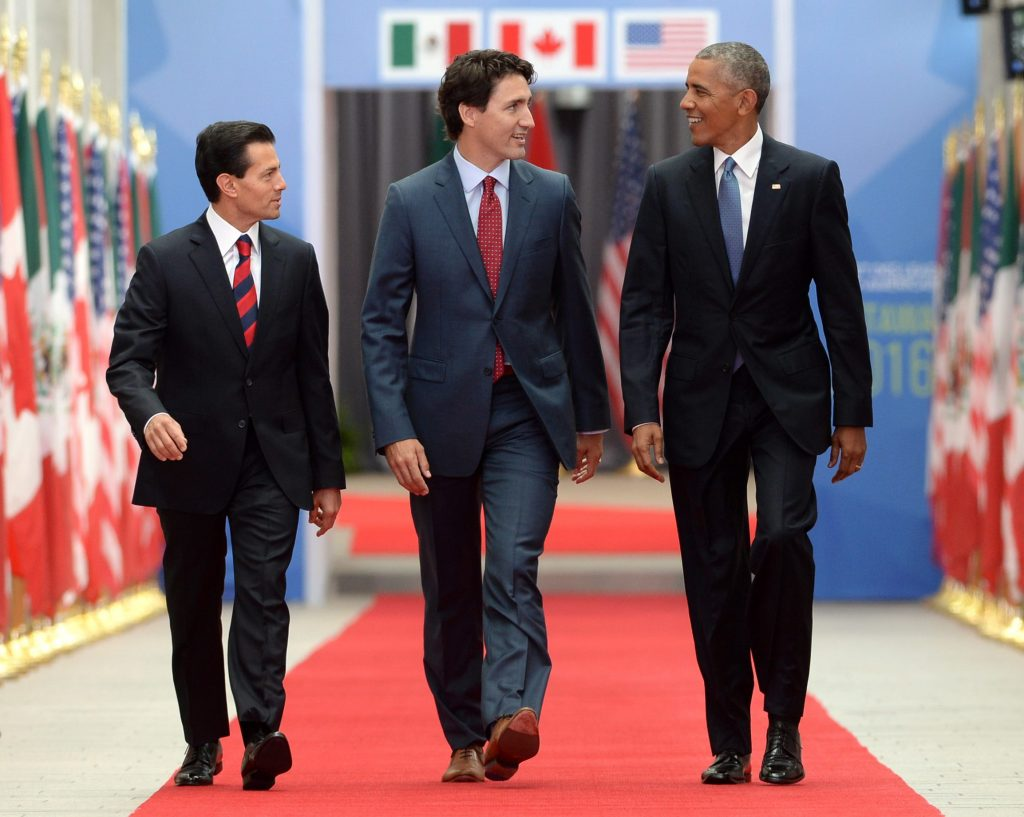 Canadian Prime Minister Justin Trudeau (C.), Mexican President Enrique Pena Nieto (L.) and President Barack Obama take part in the North American Leaders' Summit at the National Gallery of Canada in Ottawa on Wednesday. (Sean Kilpatrick/The Canadian Press via AP)