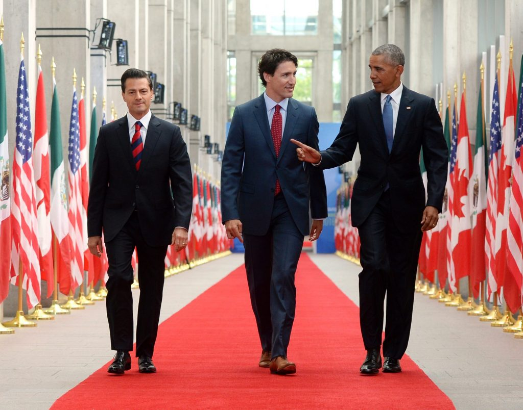 From left, Mexican President Enrique Pena Nieto, Canadian Prime Minister Justin Trudeau and U.S. President Barack Obama take part in the North American Leaders' Summit at the National Gallery of Canada in Ottawa on Wednesday. (Sean Kilpatrick/The Canadian Press via AP)