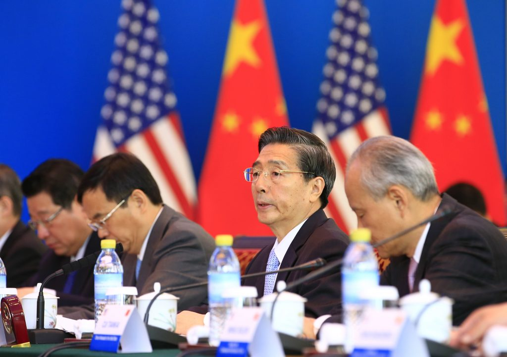 China's Minister of Public Security Guo Shengkun speaks during the Second U.S.-China High-Level Joint Dialogue on Cybercrime and Related Issues at Diaoyutai State Guesthouse in Beijing Tuesday, June 14, 2016. (Jason Lee/Pool Photo via AP)