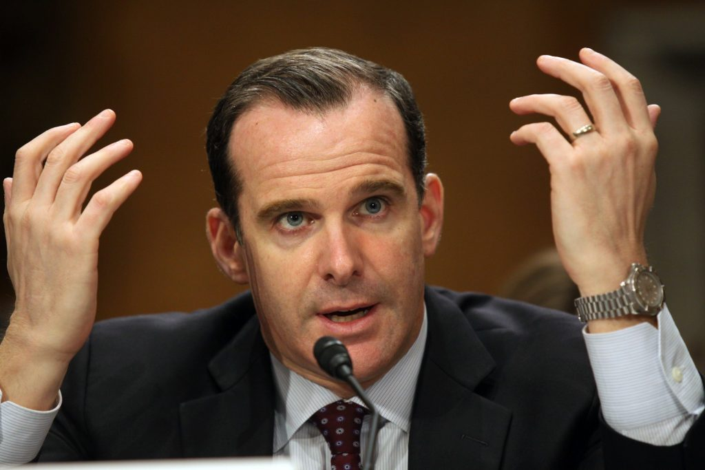 Brett McGurk testifies on Tuesday before the Senate Foreign Relations Committee. (AP Photo/Lauren Victoria Burke)