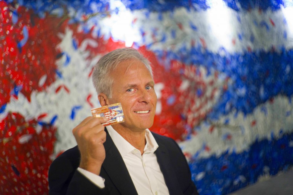 Stonegate Bank President David Seleski poses with a credit card during an interview in Havana, Cuba, last week. On Wednesday, Stonegate will issue the first U.S. credit card designed to work in Cuba. (AP Photo/Ramon Espinosa)