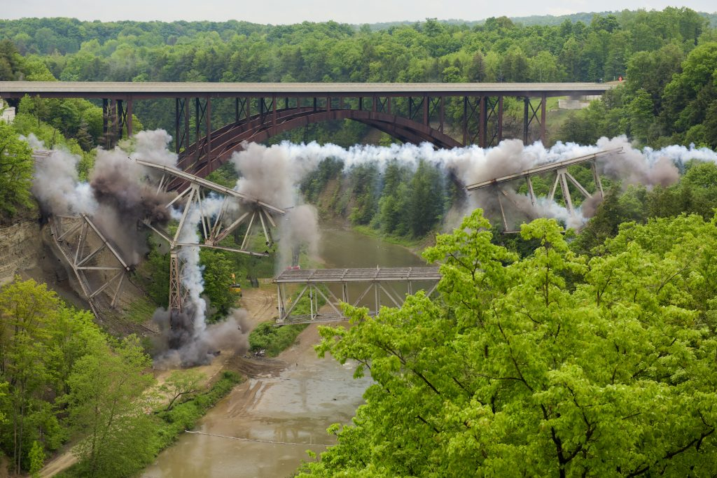 The explosion, caused by Gov. Cuomo, to bring down the Route 219 bridge. (Office of Gov. Cuomo)