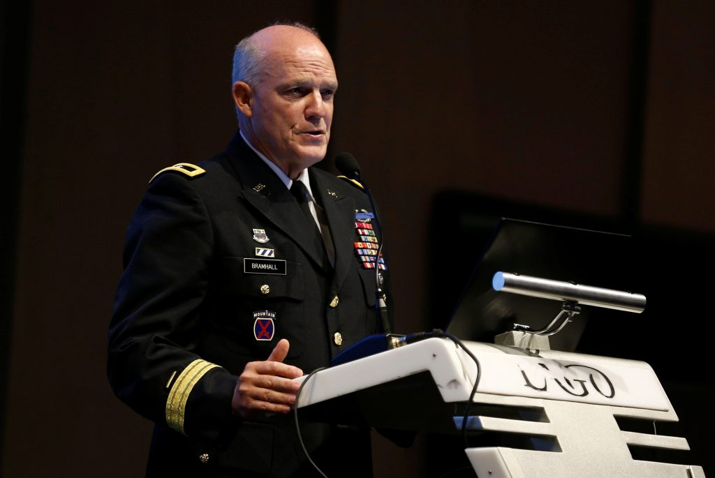 U.S. Army's Major-General Glenn Bramhall speaks at the International Missile Defence Conference in Rishon Lezion, Israel June 27, 2016. REUTERS/Amir Cohen