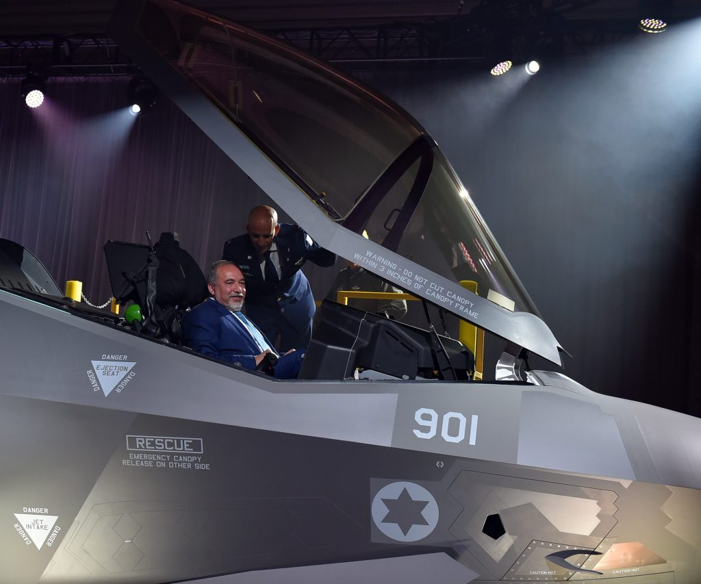 Israeli Defense Minister Avigdor Liberman seen in the cockpit of the F-35 during the ceremony for the handing over to Israel the first plane in the procurement package, in Dallas on Wednesday. (Lockheed Martin)