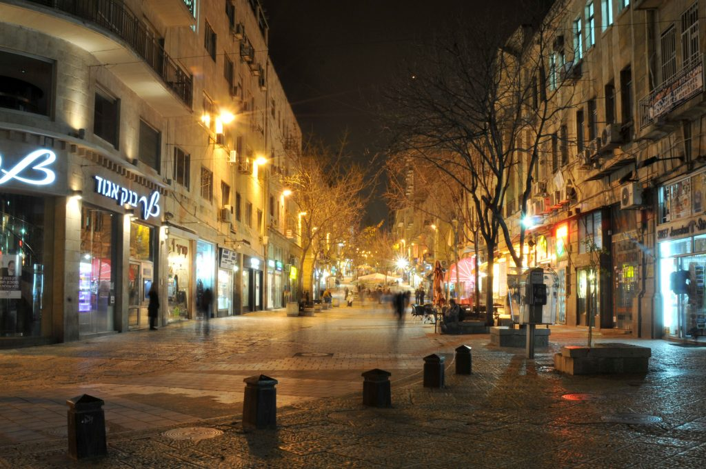 Ben Yehuda street in downtown Yerushalayim at night. Photo by Sophie Gordon / Flash90.