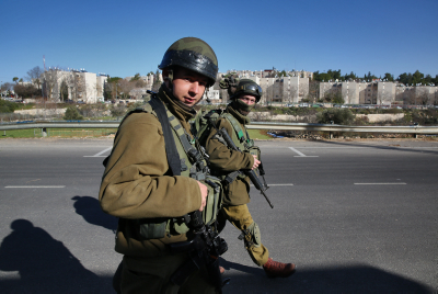 Israeli soldiers seen on security patrol near Kiryat Arba. Photo by Nati Shohat/FLASH90