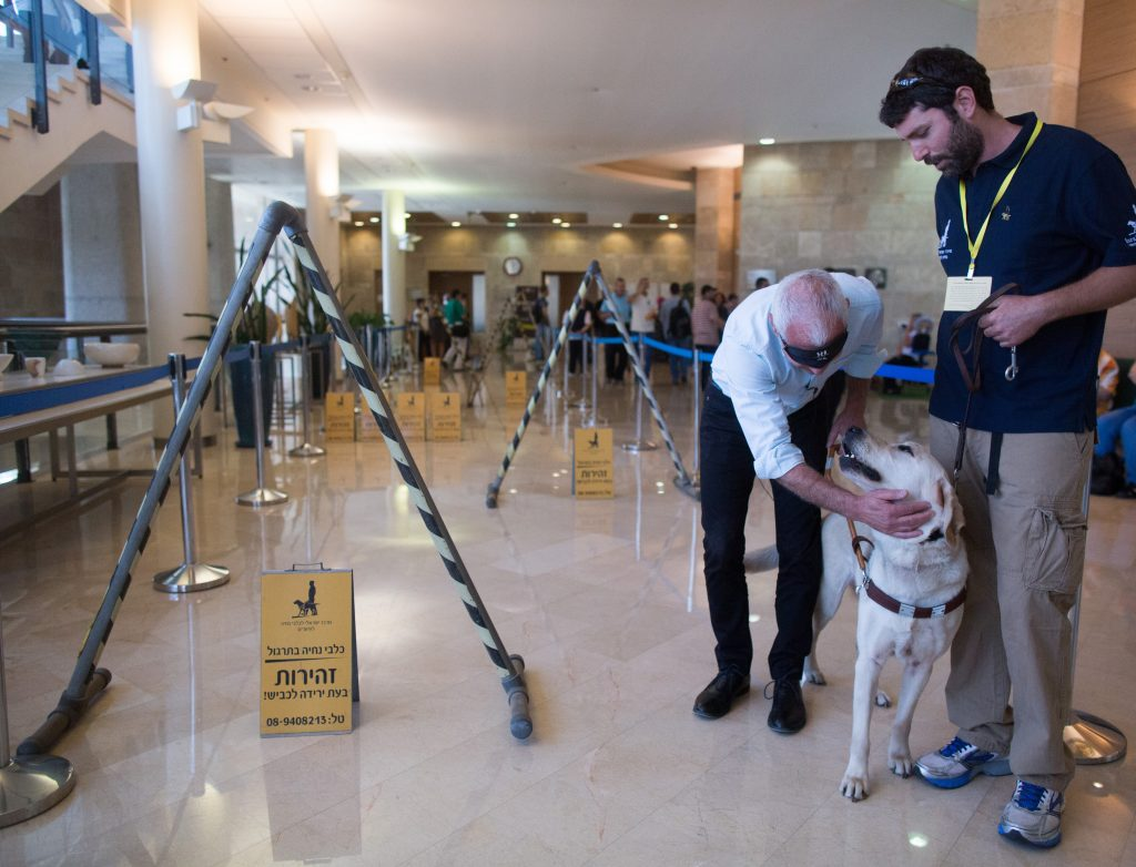 "Yesh Atid parliament members Haim Jellin practiced walking with guide dog at the Knesset, Israel's parliament in Jerusalem. June 9, 2015, As the Knesset mark ""Blind Day"". Photo by Yonatan Sindel/Flash90 *** Local Caption *** עיוור עיוורים יום העיוור כלבי נחייה חיים ילין כנסת"