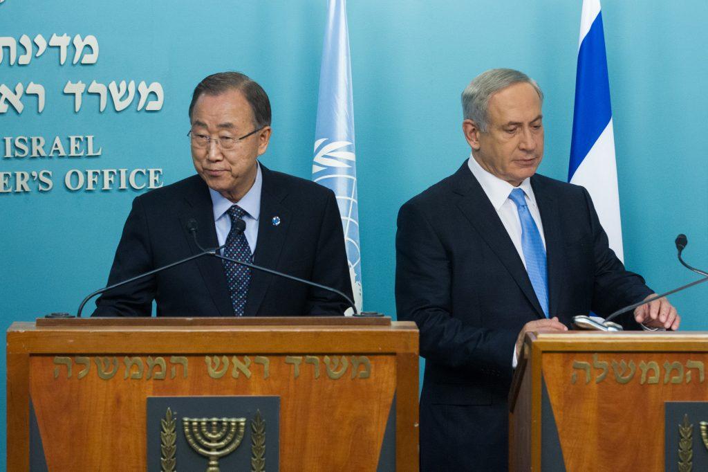 United Nations Secretary-General Ban Ki-moon and Israeli Prime Minister Benjamin Netanyahu hold a joint press confererence at the Prime Minister's Office in Jerusalem on October 20, 2015. Photo by Miriam Alster/Flash90 *** Local Caption *** áàï ÷é îåï øàù äîîùìä áéðéîéï ðúðéäå îñéáú òéúåðàéí áéáé îæëéø äàåí àå''í