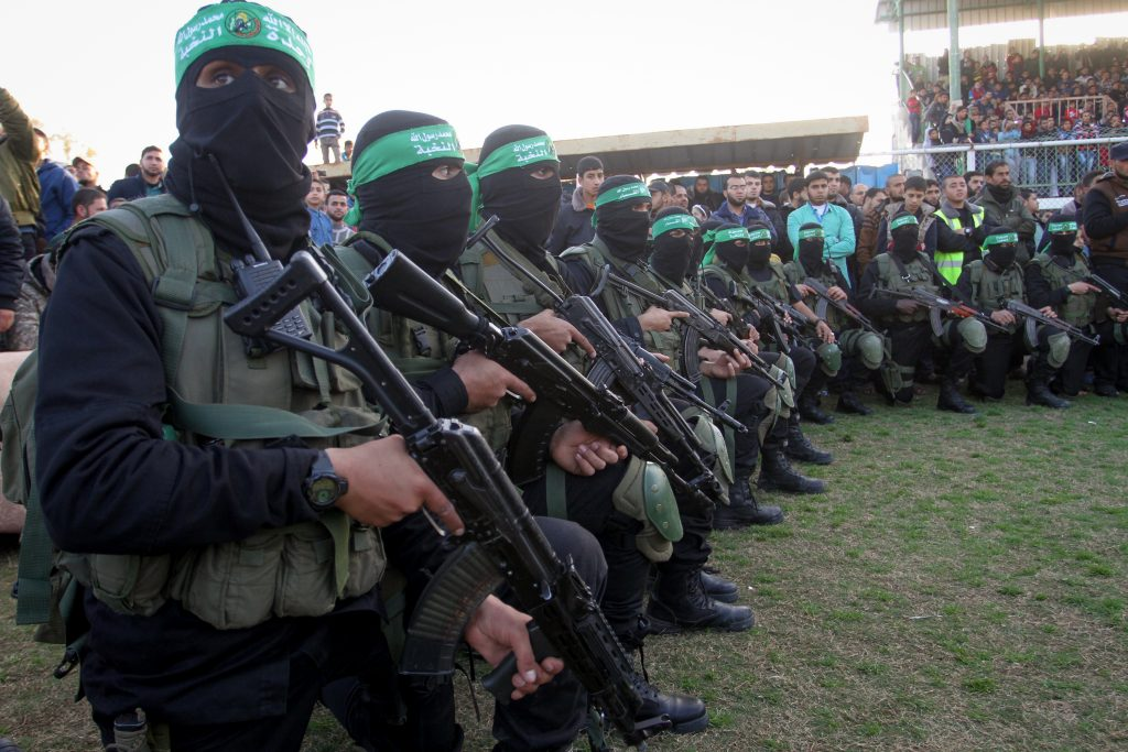 Hamas terrorists at an anti-Israel rally in the southern Gaza Strip town of Rafah in February. (Abed Rahim Khatib/Flash90)