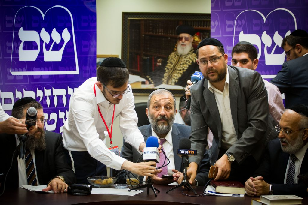 Shas party leader Aryeh Deri speaks during a party faction meeting at the Knesset, on May 23, 2016. Photo by Miriam Alster/Flash90 *** Local Caption *** ?''? ?? ???? ???? ???? ???? ???????