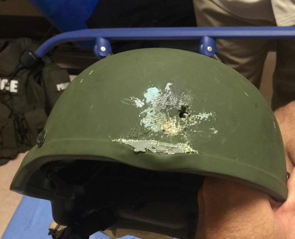 "A handout photograph posted by the Orlando Police Department on Twitter with the words, ""Pulse shooting: In hail of gunfire in which suspect was killed, OPD officer was hit. Kevlar helmet saved his life"", in reference to the operation against a gun man inside Pulse night club in Orlando, Florida, June 12, 2016. Orlando Police Department/Handout via REUTERS ATTENTION EDITORS - THIS IMAGE WAS PROVIDED BY A THIRD PARTY. EDITORIAL USE ONLY."