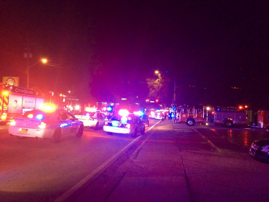 Police cars and fire trucks are seen outside the Pulse night club where police said a suspected gunman left multiple people dead and injured in Orlando, Florida, June 12, 2016. Orlando Police Department/Handout via REUTERSFOR EDITORIAL USE ONLY. NOT FOR SALE FOR MARKETING OR ADVERTISING CAMPAIGNSTHIS IMAGE HAS BEEN SUPPLIED BY A THIRD PARTY.