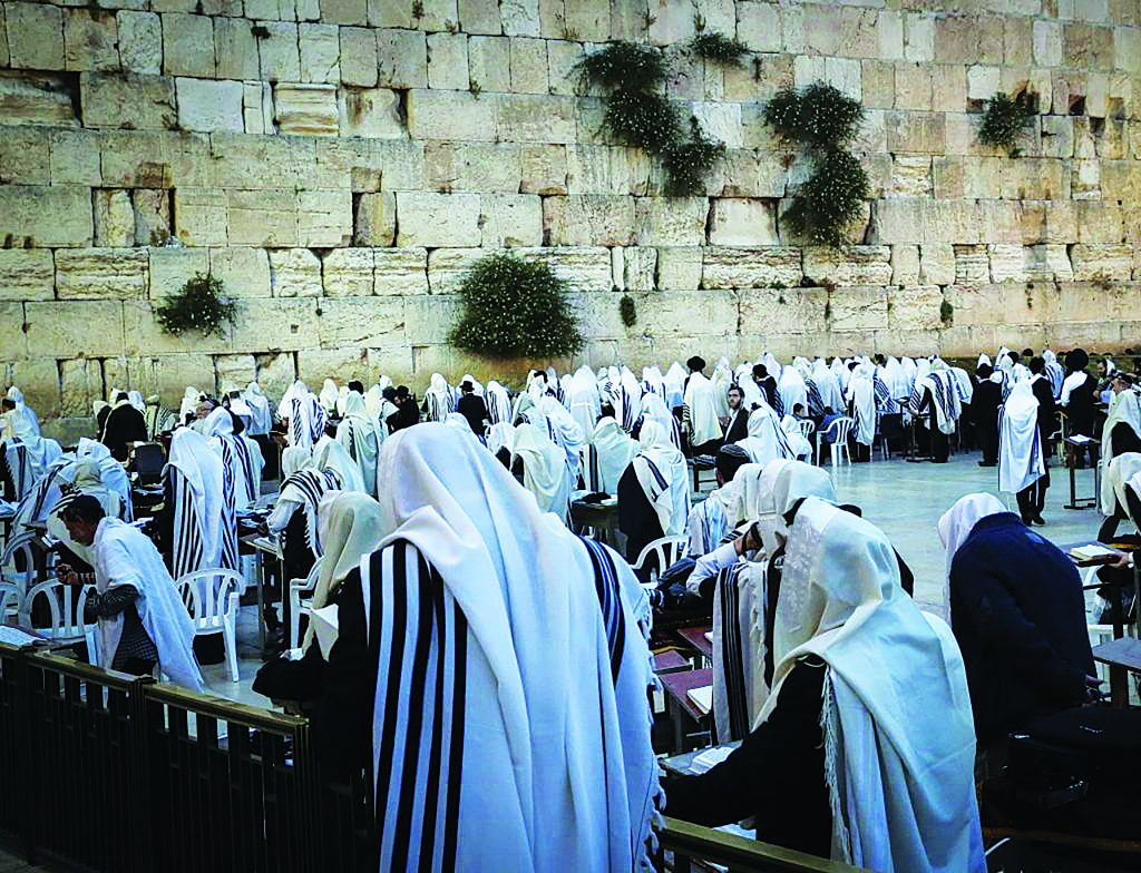 Yidden Davening at the Kosel. (Yossi Zamir/Flash90)