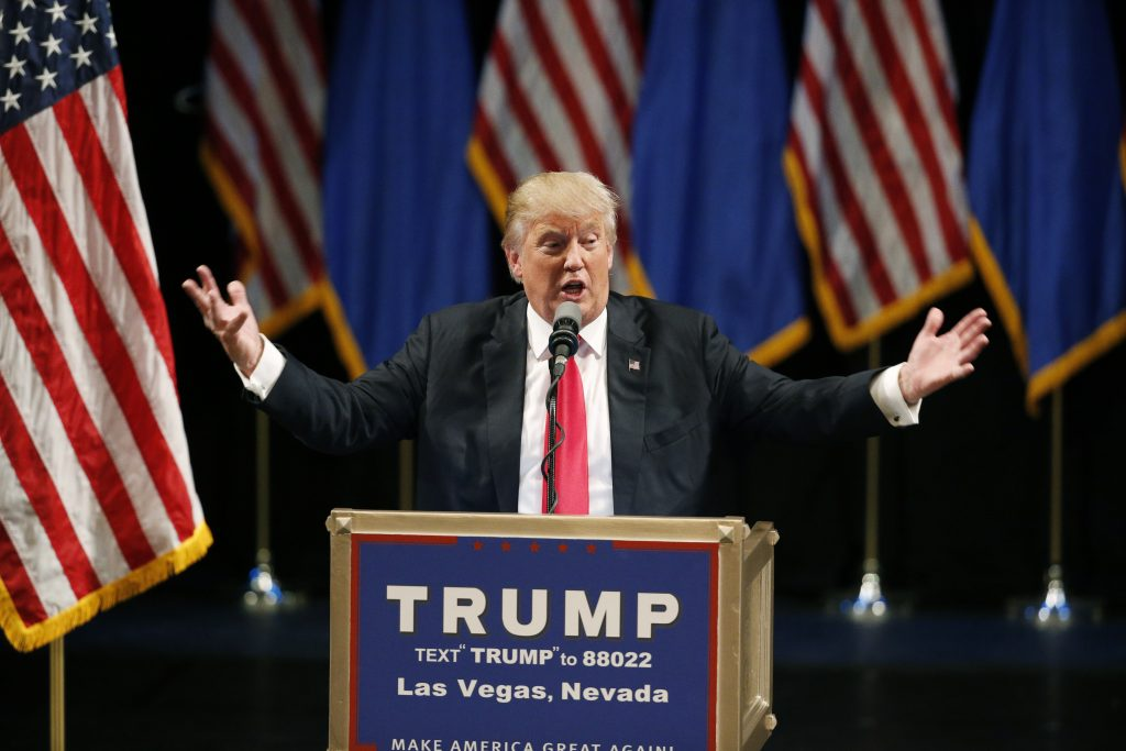 Republican presidential candidate Donald Trump speaks at the Treasure Island hotel and casino, Saturday, June 18, 2016, in Las Vegas. (AP Photo/John Locher)