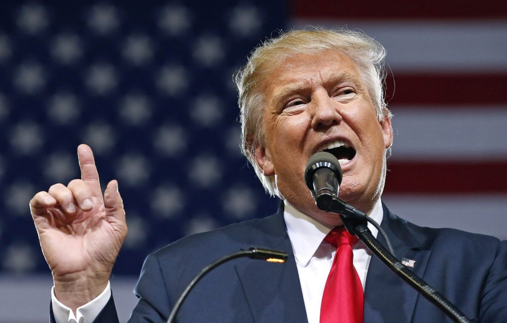 Donald Trump at a rally in Phoenix on Saturday. (AP Photo/Ross D. Franklin)
