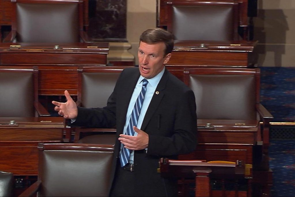 Sen. Chris Murphy, D-Conn., speaking on the floor of the Senate on Wednesday, as he launched a filibuster demanding a vote on gun-control measures. (Senate TV via AP)