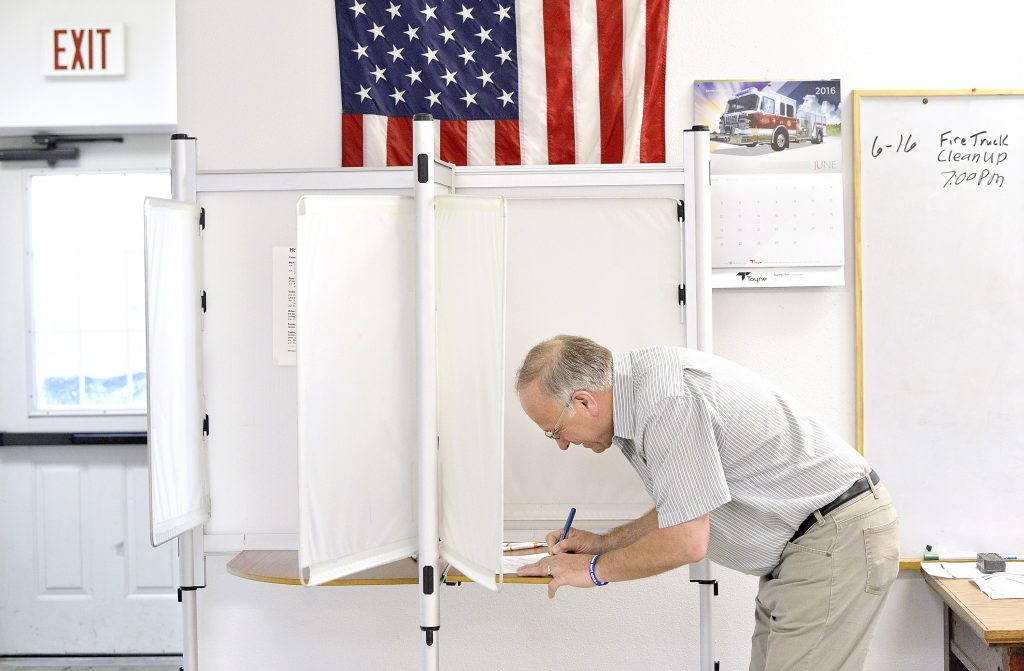 U.S. Rep. Steve King marks his ballot in the Republican primary election Tuesday morning, June 7, 2016, at the Odebolt Fire Hall in Odebolt, Iowa. King is facing a primary challenge for his 4th Congressional District seat from Rick Bertrand, a state senator from Sioux City. (Tim Hynds/Sioux City Journal via AP)