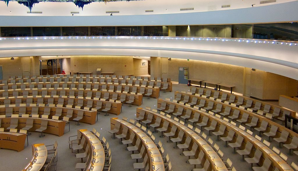 The Human Rights and Alliance of Civilizations Room, used by the United Nations Human Rights Council, in the Palace of Nations, Geneva. (BriYYZ)