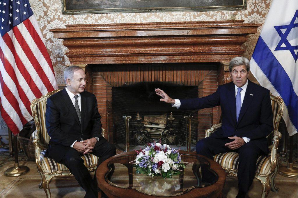U.S. Secretary of State John Kerry talks with Israeli premier Benjamin Netanyahu, left, during their meeting at Villa Taverna, U.S. Embassy, in Rome, Italy, Monday, June 27, 2016. (Giuseppe Lami/ANSA pool via AP)